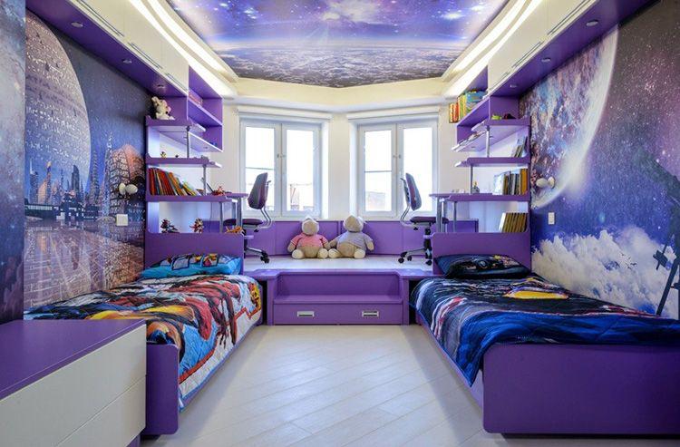 Стены и потолок детской, оформленные в космической тематике