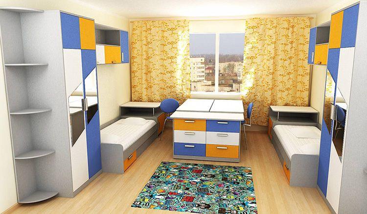 В большой комнате можно установить два отдельных шкафа для каждого ребенка