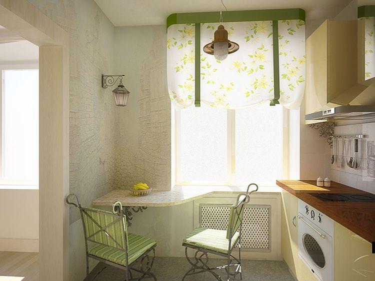 Дизайн проект маленькой кухни, совмещённой с гостиной