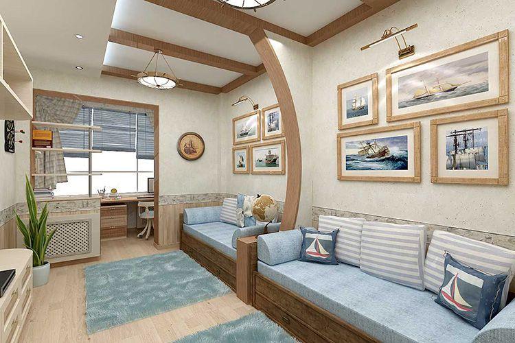 Дизайн комнаты, стилизованной под каюту корабля