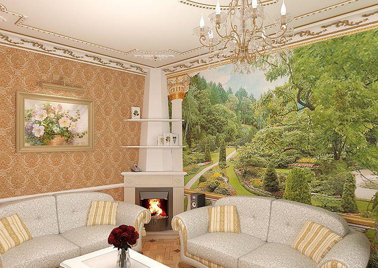 К примеру, если комната оформлена в духе классицизма, логично подчеркнуть его панорамным видом живописного парка.