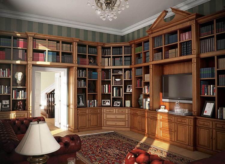 Шкафы для книг в библиотеке домашнего кабинета