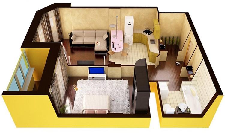 Чтобы из большой однокомнатной квартиры сделать двухкомнатную, нужно получить соответствующее разрешение