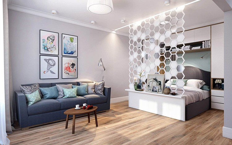 Зонирование зала на спальню и гостиную