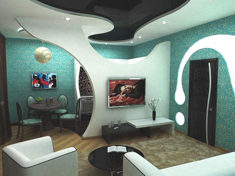 Лёгкая конструкция из гипсокартона поможет зонировать комнату