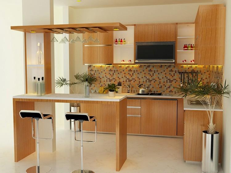 Барная стойка выглядит стильно и способна быть достойной заменой обеденному столу, особенно для небольшой семьи