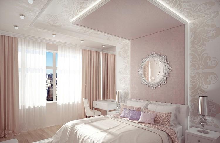 Интерьер спальни в нежных бежево-розовых тонах