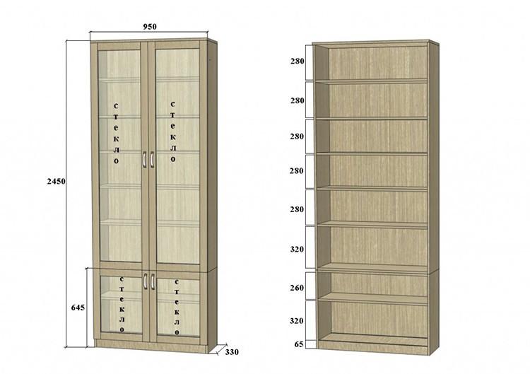 Размеры классического книжного шкафа