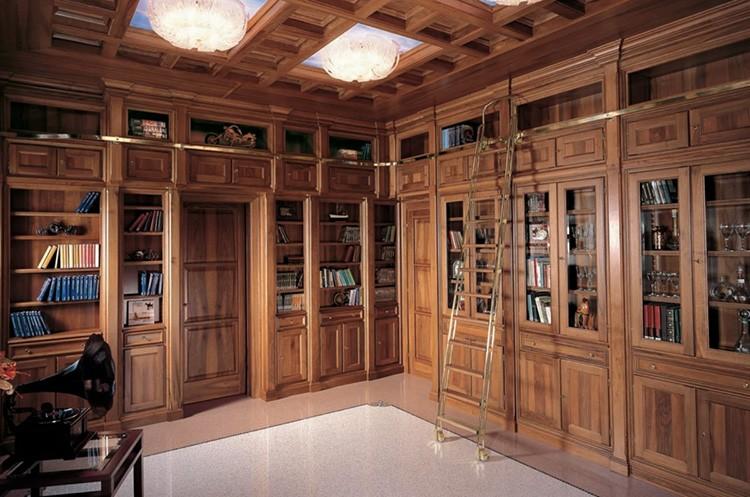 Книжные шкафы из массива для библиотеки дома
