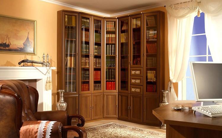 Угловой книжный шкаф для дома и библиотеки