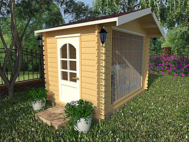 Маленькие вольерчики смотрятся как дизайнерские домики на участке. Такие клетки-дома для небольших собак делают для сезонного проживания, поэтому полы там всегда деревянные.