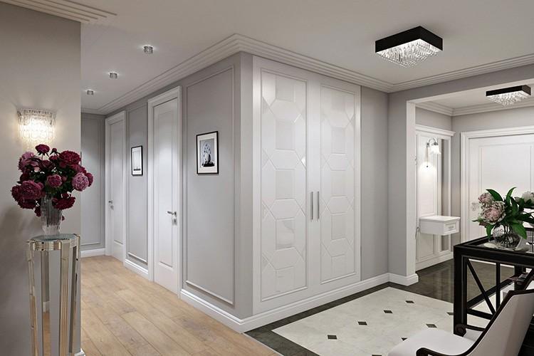 Классическое сочетание белого и бежевого цвета в интерьере прихожей-холла