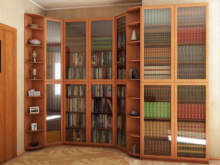 Книжный шкаф-библиотека в гостиной