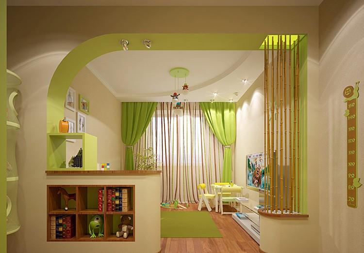 Удачное сочетание бежевого и салатового цвета в интерьере детской комнаты