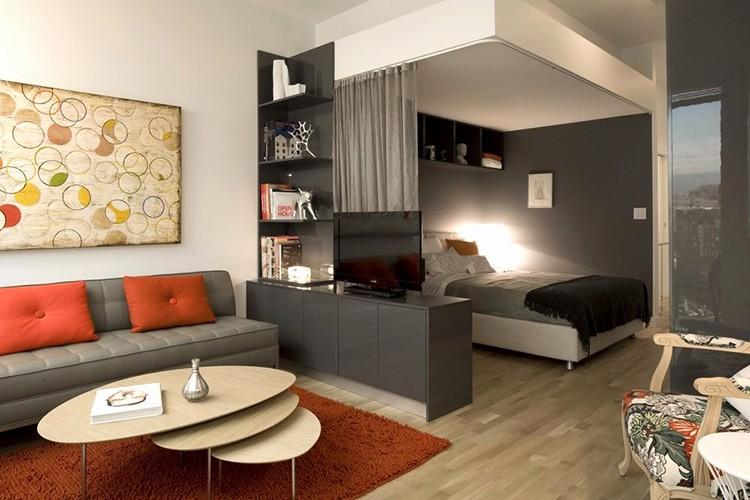 Интерьер спальни-гостиной 18 м²