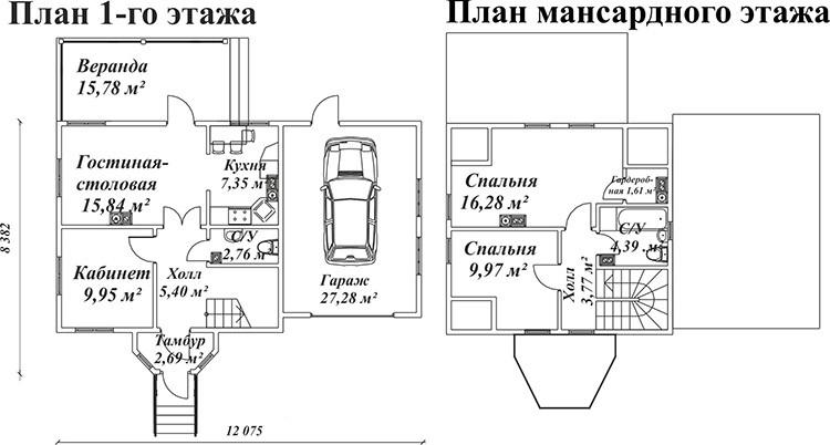 Примерный план дома с гаражом и мансардой