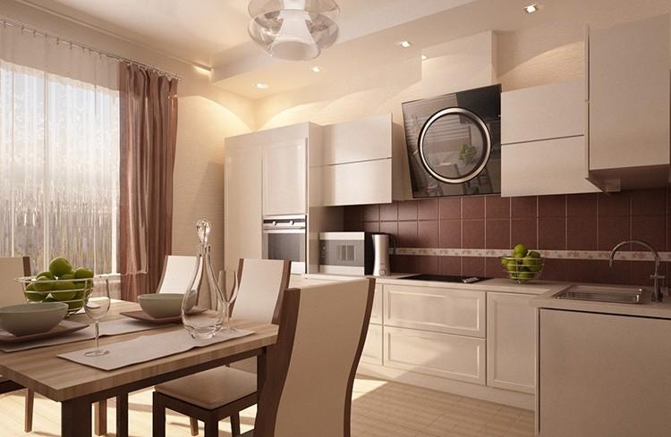 Коричневый цвет в интерьере бежевой кухни напомнит о чашке ароматного кофе и шоколаде