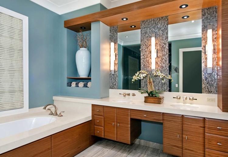 Голубой и бежевый – наиболее подходящие цвета для ванной комнаты