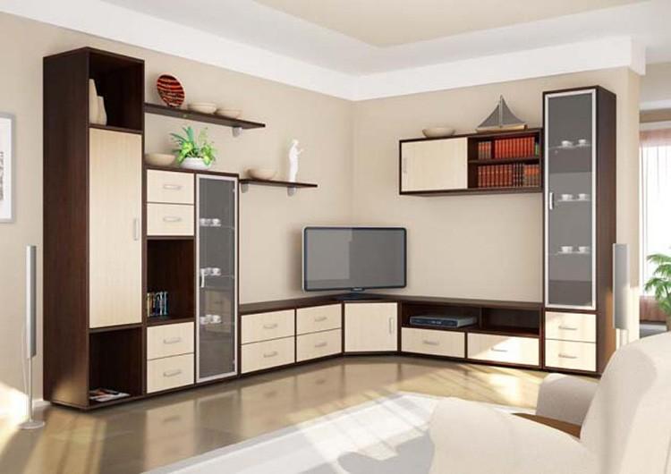 Современная Г-образная мебельная стенка