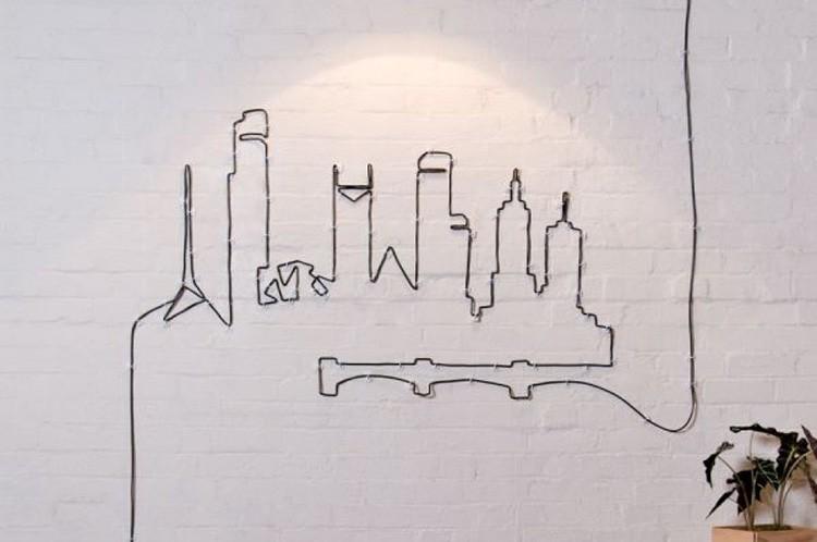 Для настенных светильников можно создавать разные изображения и при желании менять рисунок, выполняя его из того же шнура