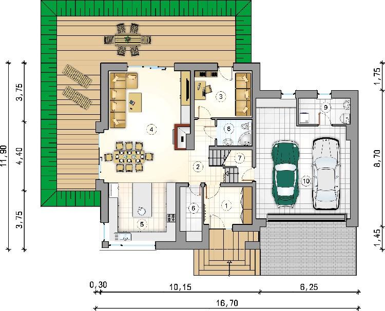 План одноэтажного дома с гаражом на две машины