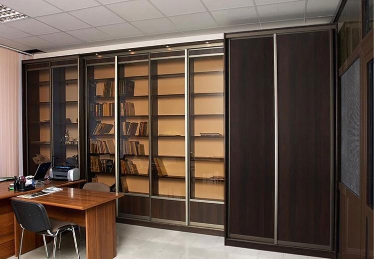 Книжные шкафы и библиотека для дома с раздвижными фасадами