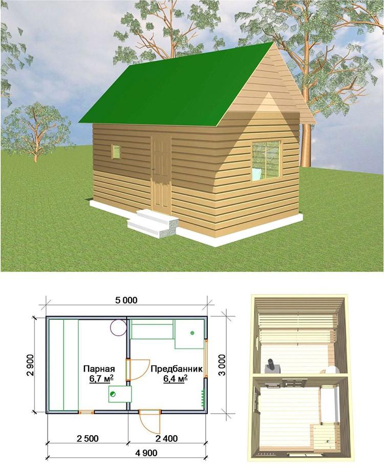 Небольшое строение актуально для семьи из 3 – 4 человек