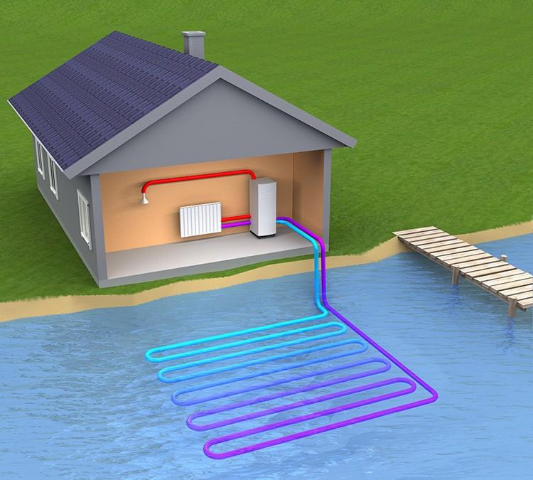 Термальные установки могут черпать энергию не только из грунта, но и из воды, так что если у вас поблизости есть водоём – скважину бурить не надо