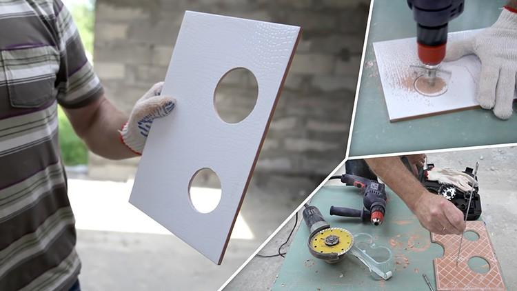 При укладке плитки постоянно требуется подрезка материала и сверление отверстий
