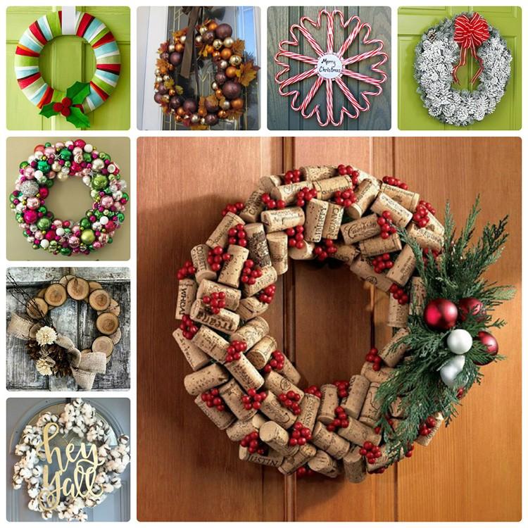 Для изготовления новогоднего венка можно использовать различные материалы
