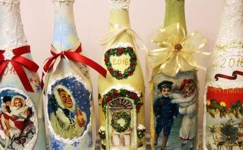 Оригинальный подарок, или Как может быть украшена бутылка к Новому Году своими руками