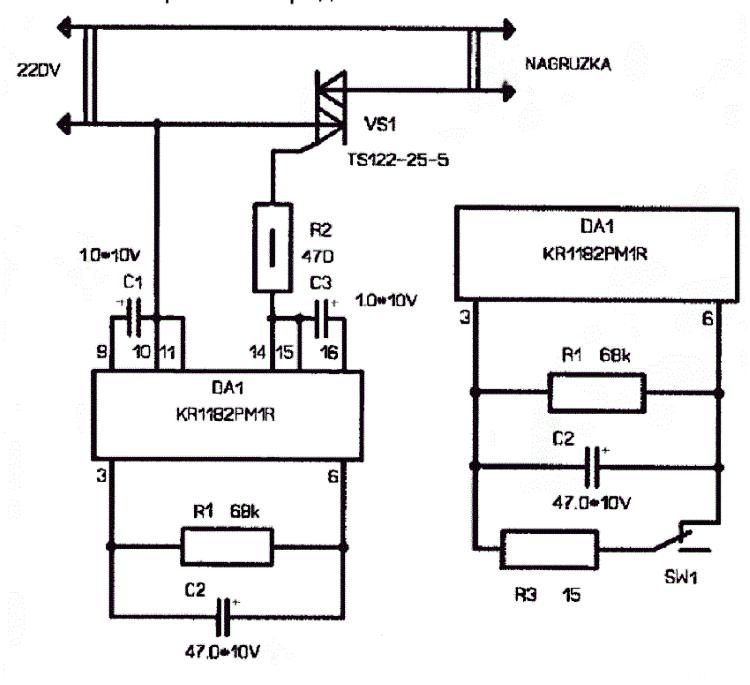 Схема блока плавного пуска с регулятором частоты вращения