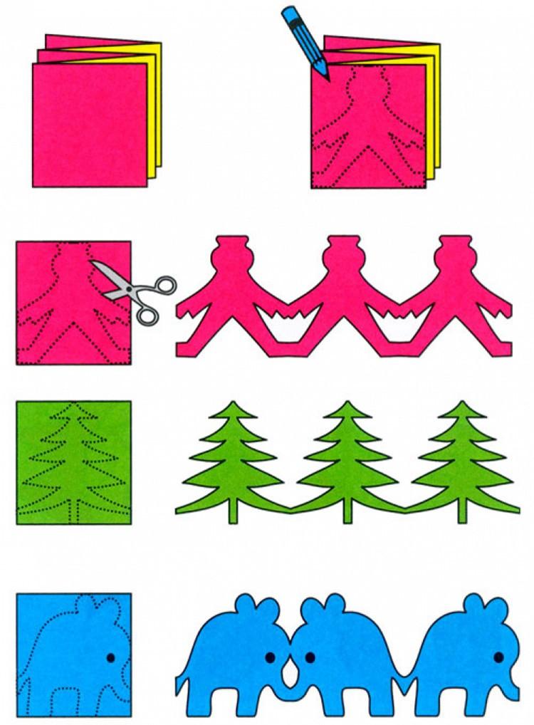 Простые шаблоны помогут сделать забавную гирлянду. Лучше всего, если подобное бумажное изделие будет из двусторонней цветной бумаги или скрапбумаги. Для увеличения прочности можно проклеить посередине гирлянды плотную нить.