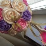 🌷 Красивый подарок к любому празднику своими руками: топиарий из атласных лент