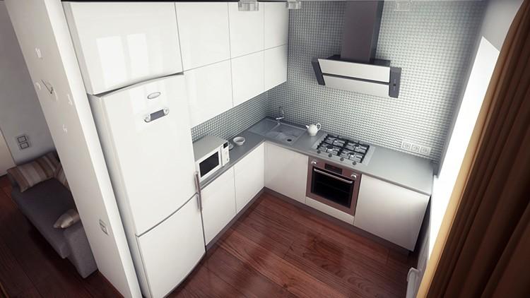 Для небольшого помещения лучше выбрать компактный гарнитур с узкими шкафами