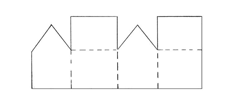 Примерный чертёж короба в форме дома.