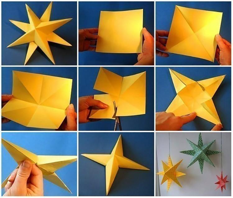 Чтобы собрать объёмную звезду, понадобится два одинаковых квадрата и одинаковые манипуляции с каждой заготовкой.