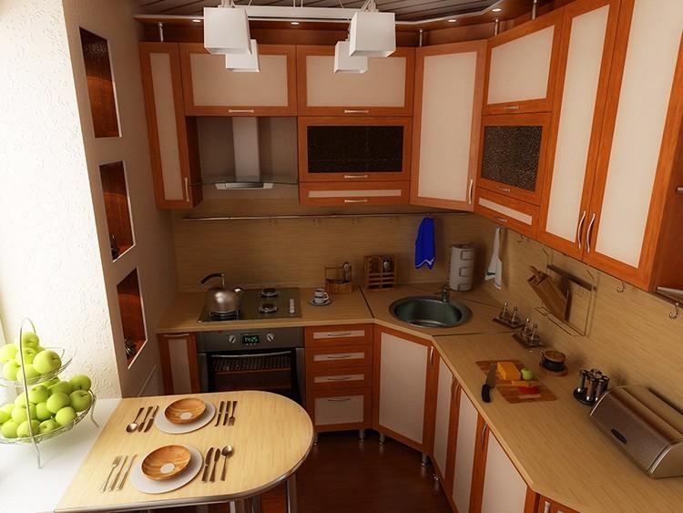 Большое количество верхних шкафов с «глухими» фасадами перегружает маленькую кухню