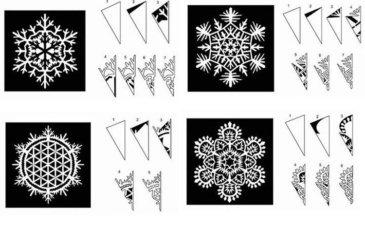 Для того, чтобы вырезать снежинки, можно воспользоваться готовыми шаблонами.