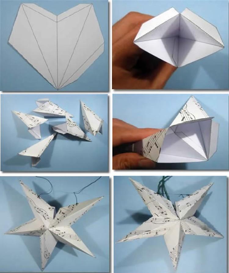 Геометрическая звезда из одинаковых заготовок. Лучше всего сделать её из красивого картона.