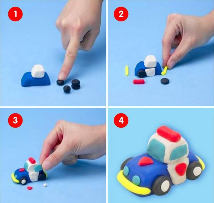 Самое сложное — придать машинке желаемую форму. Здесь работают как пальчиками, так и пластиковым ножом с зубочисткой.