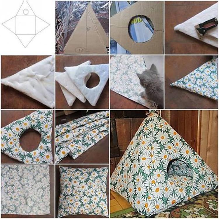 Чаще всего сшивают именно такие вот уютные пирамидки. Качество материала не особенно важно. Это может быть и хлопчатобумажная ткань, и велюр, и ситец, и лён.