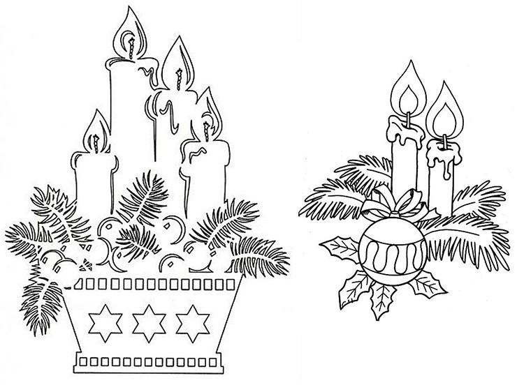 Свечи в окружении веток и ёлочных игрушек идеально соответствуют тематике праздника