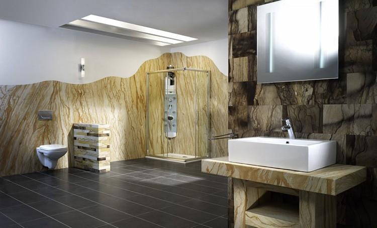 Гибкий песчаник в оформлении ванной комнаты