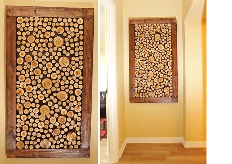 С помощью деревянных колец красиво оформляют небольшие зоны в помещении. Кольца можно приклеивать на столярный клей к фанере-основе.