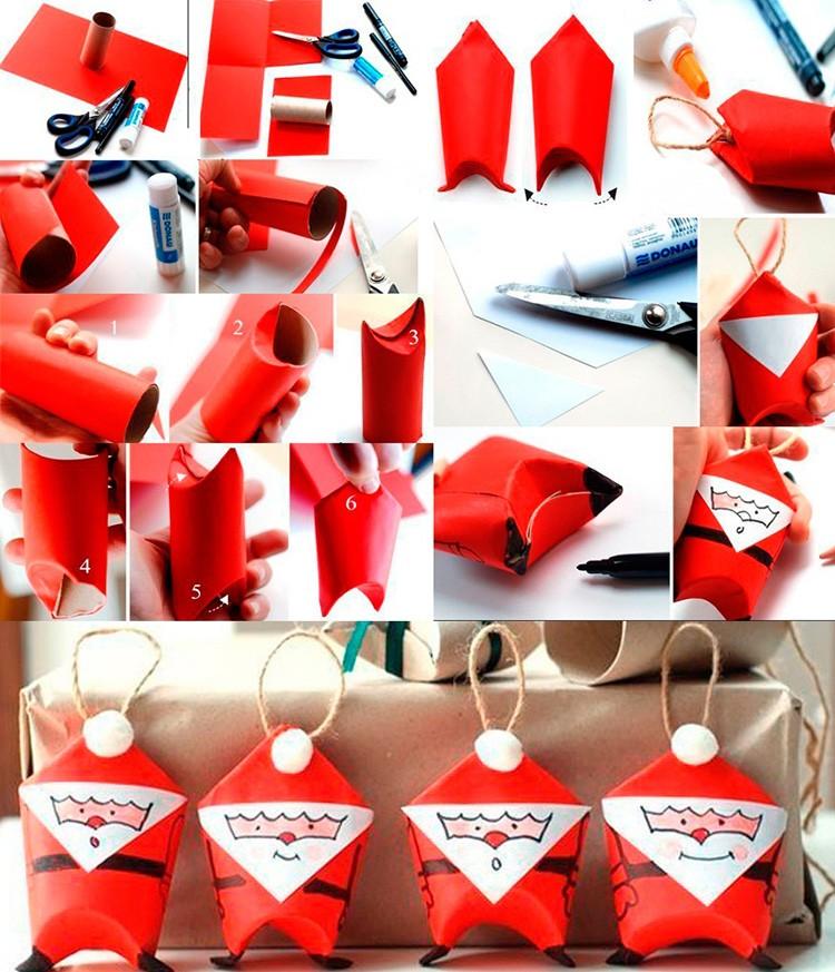 Туалетная втулка легко мнётся. Красная бумажная шубка будет смотреться очень празднично: можно сразу приветствовать Деда Мороза на ёлке.