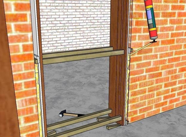 Запенивание щелей по периметру двери