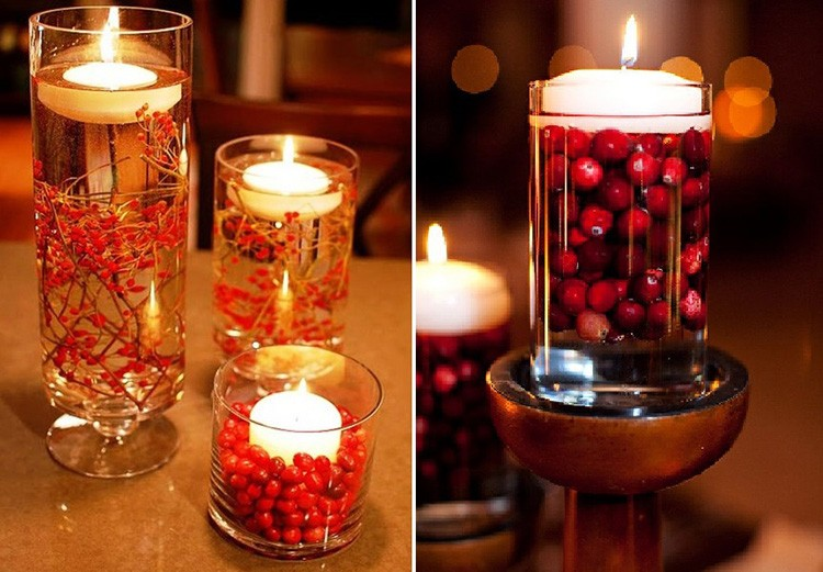 Веточки с мелкими ягодами тоже прекрасно подойдут для плавающих свечей.
