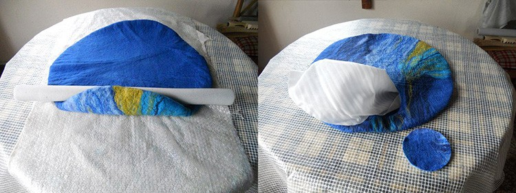 Когда изделие сваляно, в нём делают небольшую прорезь, не насквозь, а внутрь вкладывают плёнку или пакет. Это позволит придать изделию округлую форму.