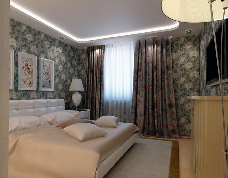 Самую обычную спальню всегда можно украсить подходящими шторами и картинами.